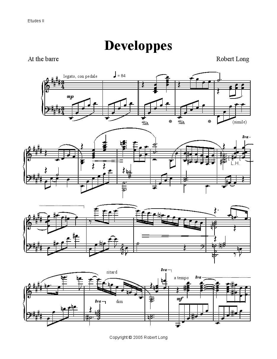 developpes piano sheet music for ballet class