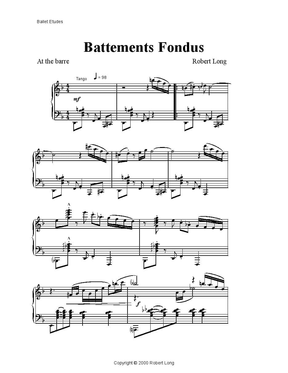 piano sheet music for ballet class