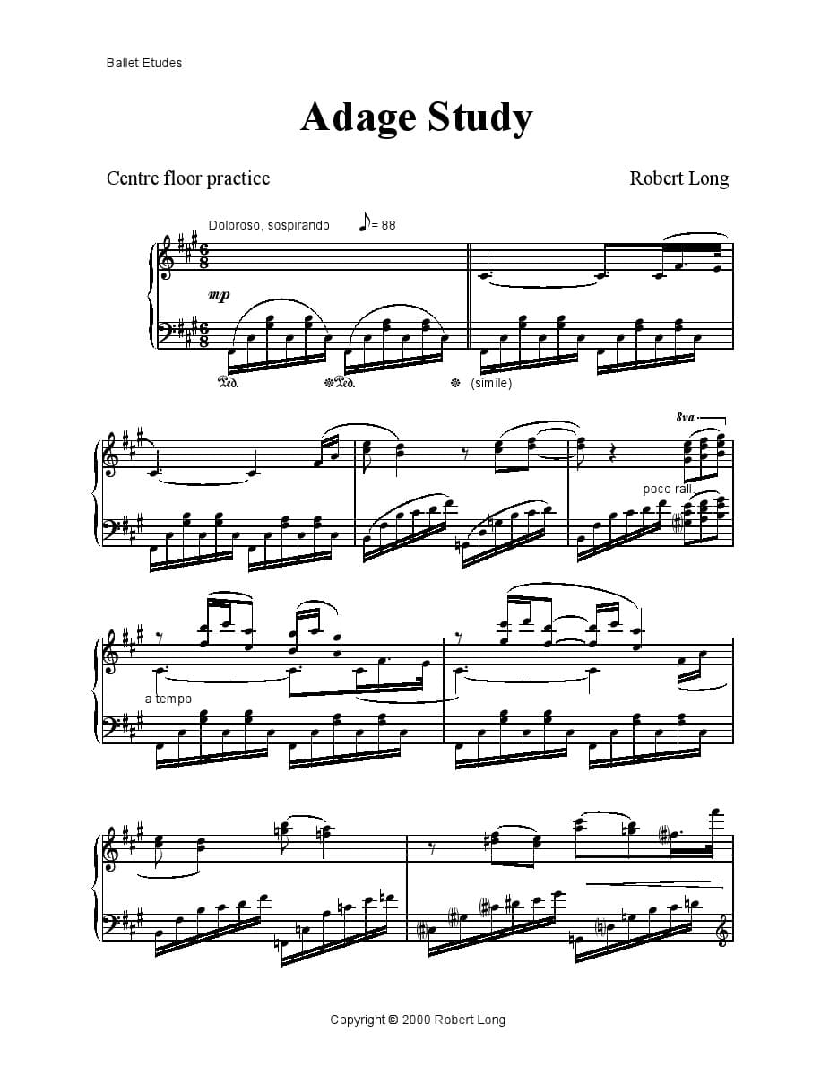 Adage piano sheet music for ballet class