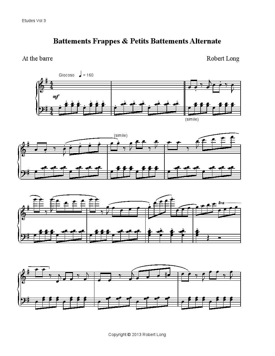 ballet music for battements frappes and petits battements