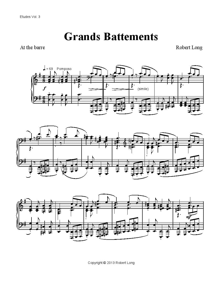 grands battements sheet music