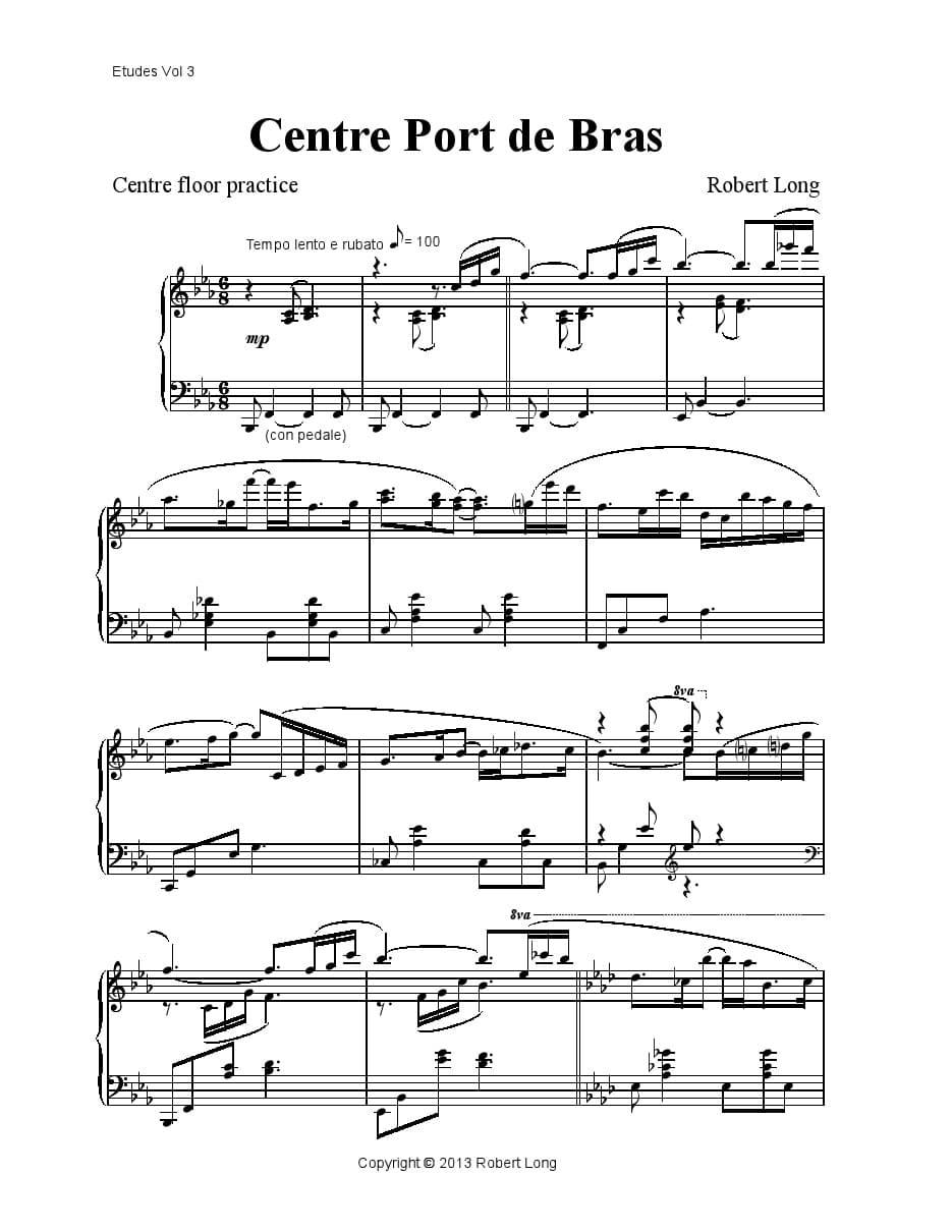 ballet piano sheet music: port de bras