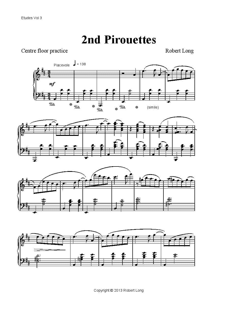 ballet class sheet music for piano: pirouettes