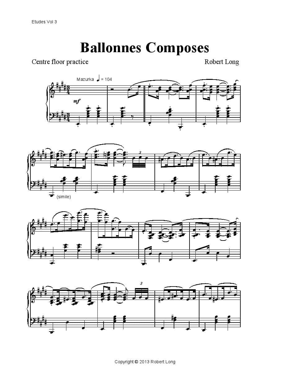 ballet class piano sheet music: ballonnes composes
